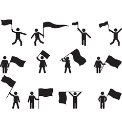 pictograph people carrying flags vector image