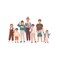 Portrait happy children and teenagers group vector