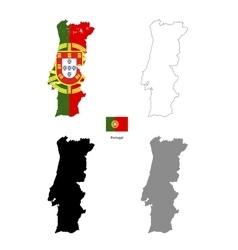 portugal country black silhouette and with flag vector image