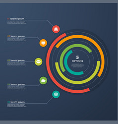 Presentation infographic circle chart with 5 vector