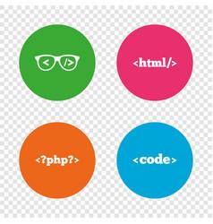 programmer coder glasses html markup language vector image