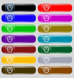 Pulse Icon sign Set from fourteen multi-colored vector