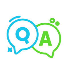 Q and a linear speech bubbles green and blue vector