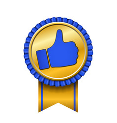 ribbon award up thumb gold icon gesture success vector image