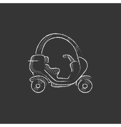 Rickshaw Drawn in chalk icon vector