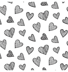 Romantic seamless pattern with heart doodles vector