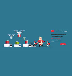 santa claus with modern robot helper team drone vector image