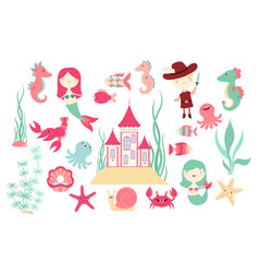 set banners with cute fairy-tale characters vector image