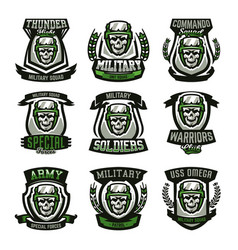 Set military logos emblems skull helmet vector