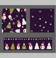 set of 3 seamless patterns in christmas colors vector image