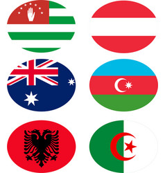 set of flags with names vector image