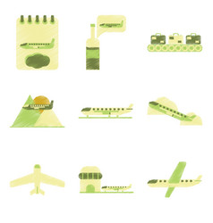 Set of flat icons in shading style planes vector