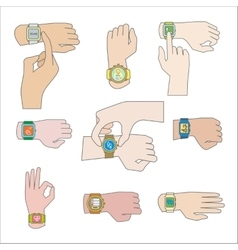 Set of gestures for watch vector image