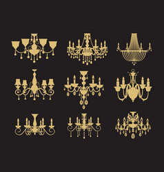 set vintage chandeliers isolated on black vector image