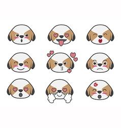 Shih tzu cartoon emotion vector