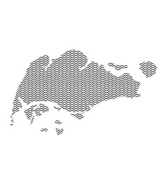 singapore map country abstract silhouette of wavy vector image