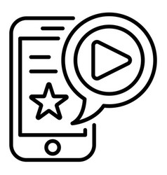 smartphone vlog icon outline style vector image