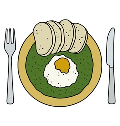 Spinach with dumplings vector