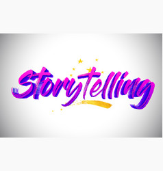 Storytelling purple violet word text with vector