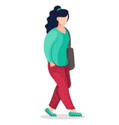 Stylish faceless cartoon character with bag vector