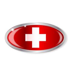 Swiss flag oval button vector