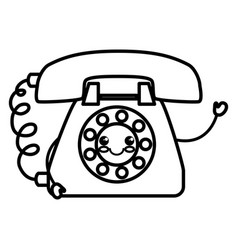 Telephone service kawaii character vector