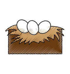 Tender nest with eggs vector