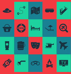 travel icons set with helicopter mask hat and vector image