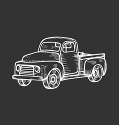 Truck in vintage engraved style vector