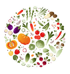 vegetables in the shape of a circle vector image