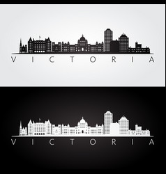 Victoria canada skyline and landmarks silhouette vector