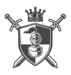 Vintage monochrome knight coat of arms vector