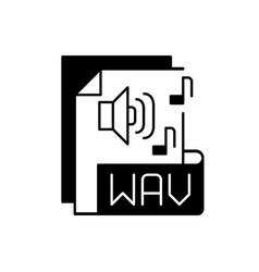Wav file black linear icon vector