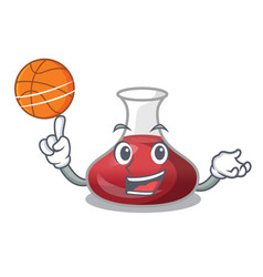 With basketball character glass decanter with red vector