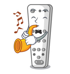 with trumpet cartoon remote control from tv device vector image