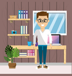 worker at home office vector image