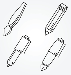 Writing tools Pencil pen fountain pen brush ballpo vector