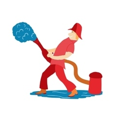 Fireman pours water from a hydrant in cartoon vector image