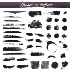 Grunge and halftone design elements vector image vector image