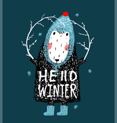 hello winter cute funny sheep in hat design vector image vector image