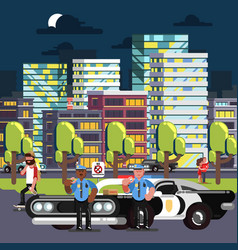 police chilling on work vector image vector image