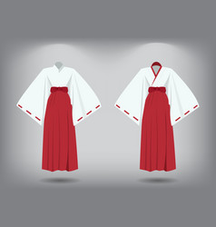 set of miko suit traditional japanese costume vector image vector image
