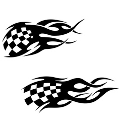 Tattoos with checkered flags vector image vector image
