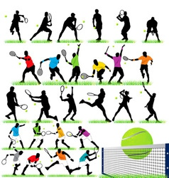 26 tennis players silhouettes set vector image vector image