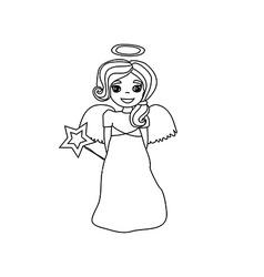 Christmas doodle angel vector