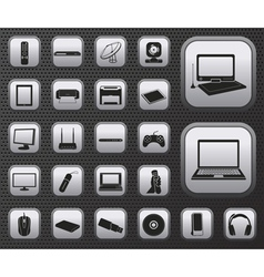 Computer electronic and media device icons set vector image