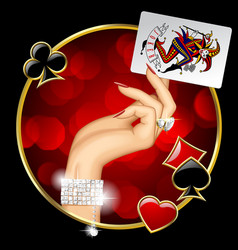 female hand with joker playing card vector image vector image