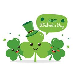 happy st patricks day shamrock cartoon characters vector image vector image