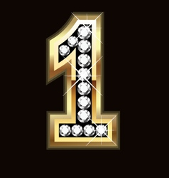 Number one bling gold and diamonds vector image