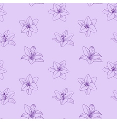 Purple seamless pattern with lily Floral lilac vector image